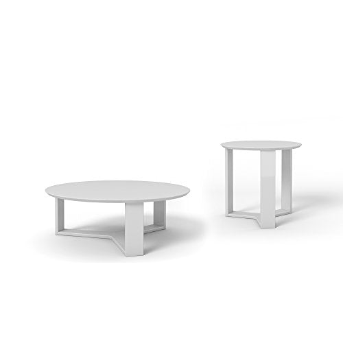 Contemporary Modern Wooden 2 Piece Set Coffee and Accent End Table with 3 Sided Geometric Base (White Gloss)