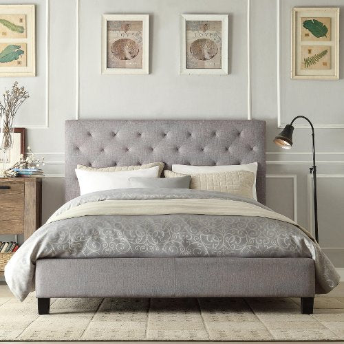 Modern Diamond Button Tufted Upholstered Padded Square Queen Headboard & Platform Bed in Gray