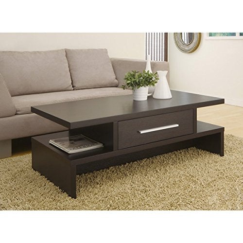 Modern Wood Coffee Cocktail Accent Table in Espresso Finish
