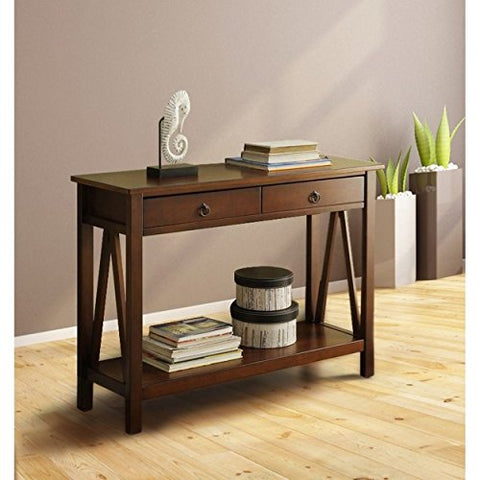 Modern Antique Brown Narrow Sofa Table Hallway Console with 2 Storage  Drawers