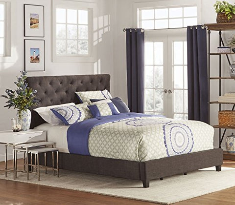 Modern Diamond Button Tufted Upholstered Padded Square Dark Gray Queen Headboard and Frame Bed