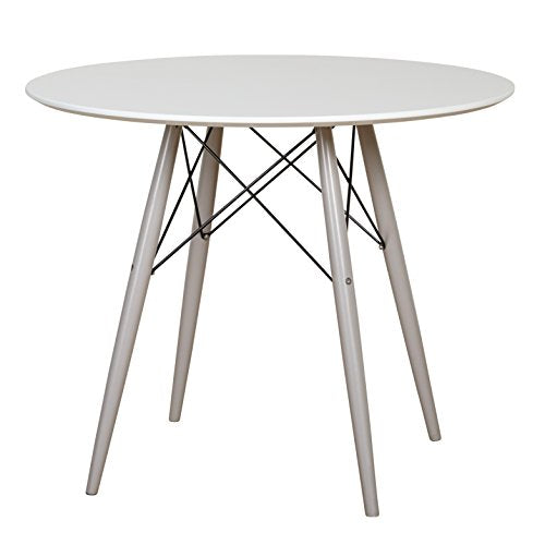 Mid Century Retro Round Two Tone Dining Table with Tapered Flared Legs