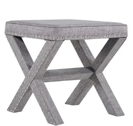 Contemporary Linen Fabric Upholstered 17 Inch Bench Ottoman Vanity Stool with X Legs and Silver Nailhead (Gray)