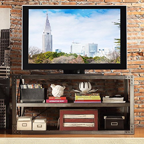 ModHaus Modern Industrial Rustic Riveted Metal & Wood TV Stand - for Televisions up to 48 inches