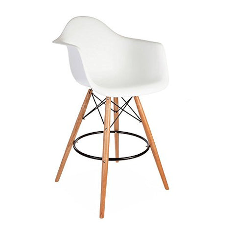 Mid Century Modern Eames DAW Style White Counter Stool Chair with Dowel Wood Base HIGH QUALITY Satin Finish
