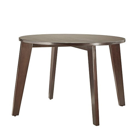 Mid Century Modern Brown Wood Round Dining Table with Tapered Legs