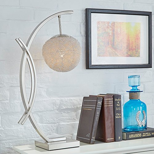 Modern Satin Nickel Arch Table Lamp with Aluminum Wire Wrapped Sphere