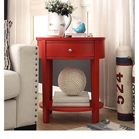 Modern Style Red Wood Accent Nightstand End Sofa Table Oval Shaped with Storage Drawer and Bottom Shelf