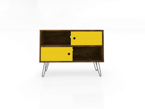 Mid Century TV Stand with 4 Shelves  in Rustic Brown and Yellow