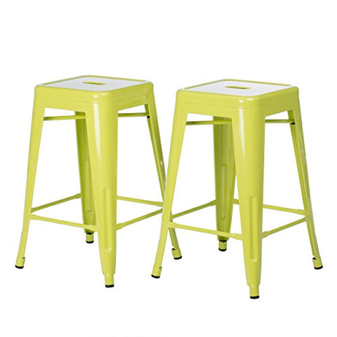 Set of 2 Lime Green Tolix Style Metal Counter Stools in Glossy Powder Coated Finish