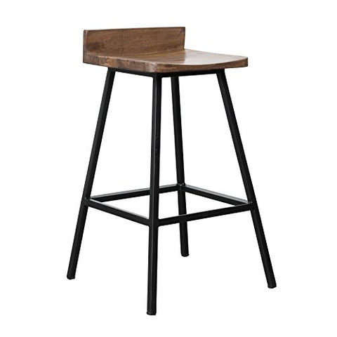 Enjoyable Modern Industrial Wood 27 Inch Low Back Counter Stool With Beatyapartments Chair Design Images Beatyapartmentscom