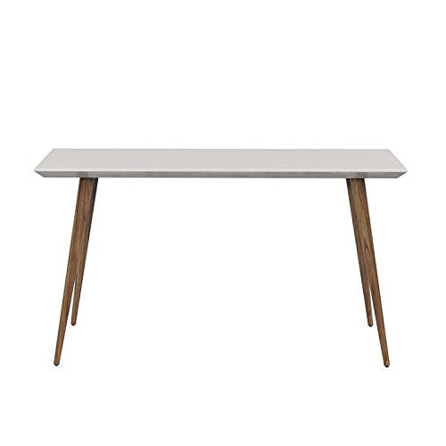 Contemporary Modern Wooden Sleek Beveled Table Top Entryway Side Table with Solid Wood Splayed Legs (Off White)