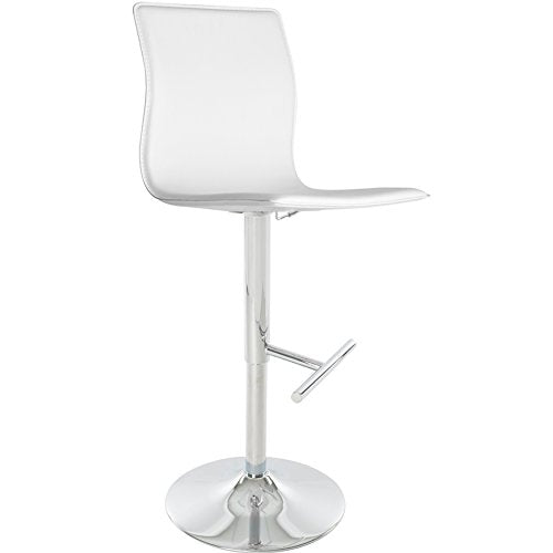 Contemporary Style Swivel Adjustable Height Counter Bar Stools with High Back and Upholstery Seat | Chrome Finish, Metal Pedestal Base - (White)