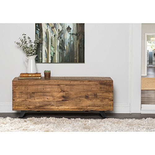 Mid Century Modern Brown Wood Entryway Storage Chest Bench with Black Iron Legs