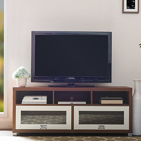 Contemporary Wood Two Tone Glass Door TV Stand with 2 Cabinets and 3 Shelves