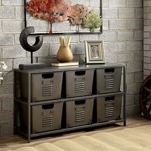 Modern Industrial Console Table with 6 Removable Storage Bins