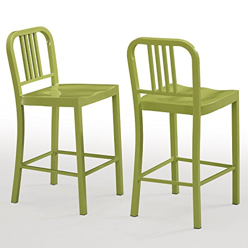 Set of 2 Green Metal Counter Stools with Back in Glossy Powder Coated Finish