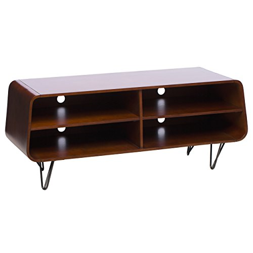 Mid Century Media Console TV Stand with 4 Shelves and Metal Legs