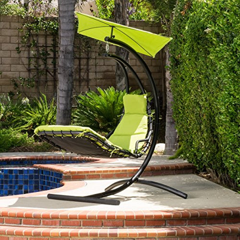 Modern Transitional Hanging Patio Chair with Cushion, Canopy and Black Metal Frame (Green)