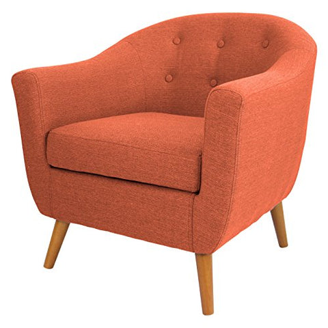 Mid Century Retro Modern Style Rust Orange Button Tufted Upholstered Tub Accent Armchair with Wood Legs