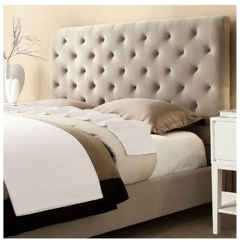 42332c4316 Modern Diamond Button Tufted Taupe Upholstered Padded Square Queen Hea –  ModHaus Living