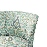 Contemporary Green and Blue Ikat Abstract Floral Print Upholstered Armless Accent Chair with Nailhead Trim and Dark Wood Legs