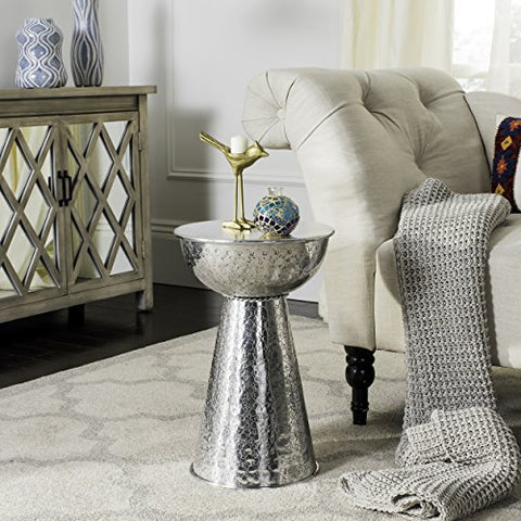 Contemporary Silver Textured Stool End Table