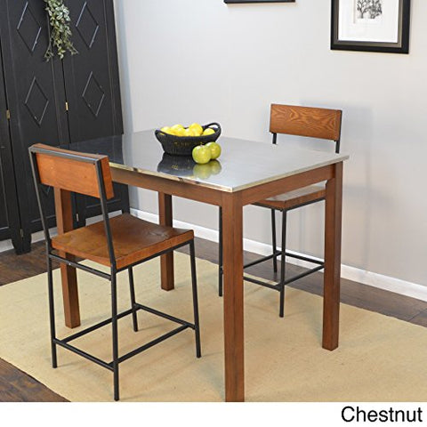 Modern Shaker Chesnut Wood Counter Height Bar Table With Stainless