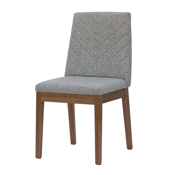 Contemporary Chevron Pattern Upholstered Set of 2 Dining Chair with Solid Wood Frame (Gray)