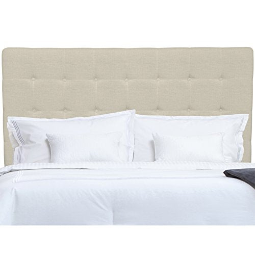 Modern Button Tufted Beige Upholstered Padded Queen Headboard