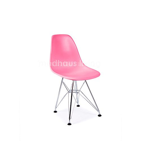 Mid Century Modern CHILDREN KIDS Pink DSR Chair with Eiffel Chrome Steel Base - Inpired by Eames Design - HIGH QUALITY Matte Finish