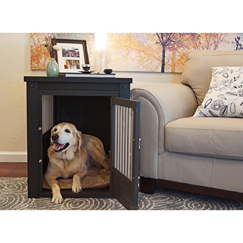 Contemporary End Table Pet Crate and Kennel with Stainless Steel Spindles (Medium, Espresso-Black)