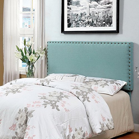 Modern Upholstered Padded Dusty Aqua Linen Fabric Queen Headboard with Antique Brass Nailheads