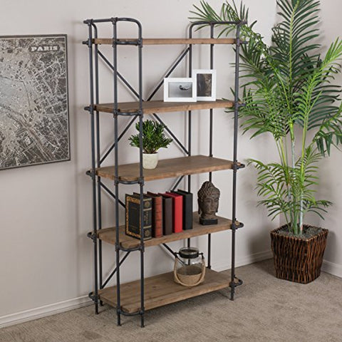 Rustic Industrial Open Shelf 5 tier Bookcase with Antique Metal Finish