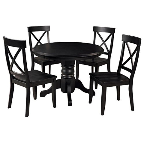 Contemporary Retro Style Wood Accent 5-Piece Dining Set | 4 Armless X-Back Chairs, Round Table, Black Finish