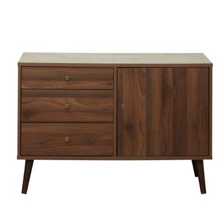 Mid Century Modern Wood Sideboards Buffet in Walnut Finish with 3 Drawers 1 Cabinet and Adjustable Shelf with Solid Wood Legs