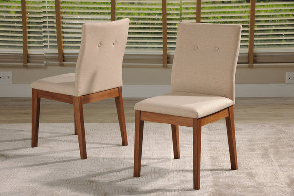Contemporary Modern Set of 2 Upholstered Dining Chair with Natural Wood Frame (Dark Beige)