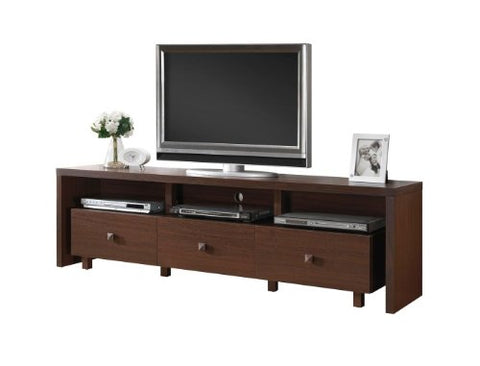Modern Italian Style Brown Espresso Walnut Wooden TV Media Stand for 70 in TV