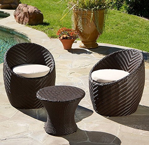 Modern Outdoor Patio 3 Piece Chat Set in Brown Resin Wicker with Tan Seat Cushions