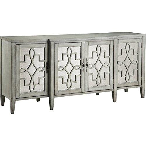Contemporary Mirror Inserts Accent Storage Chest Console Table with Wood Frame Gray Finish