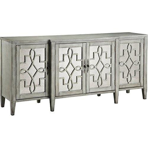 Enjoyable Contemporary Mirror Inserts Accent Storage Chest Console Table With Wood Frame Gray Finish Machost Co Dining Chair Design Ideas Machostcouk