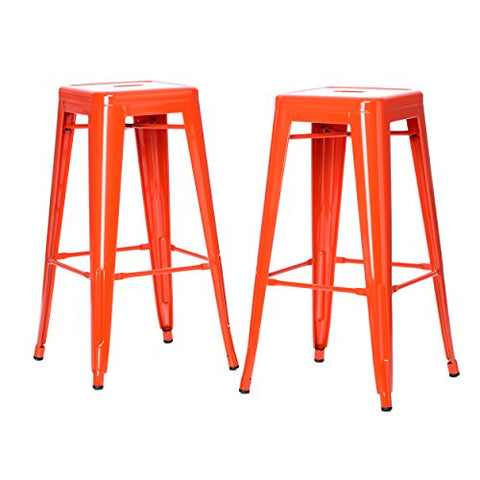 Set of 2 Orange French Bistro Tolix Style Metal Bar Stools in Glossy Powder Coated Finish