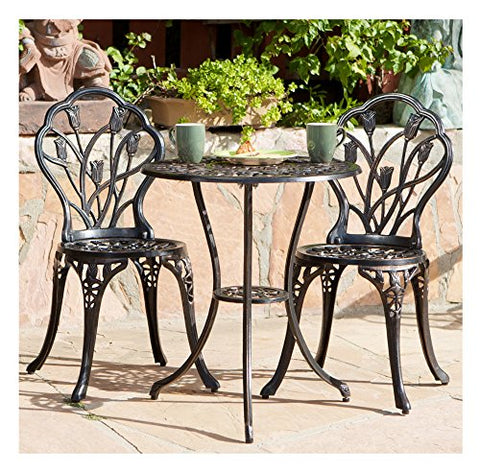 Classic Tulip Cast Aluminum Outdoor Patio 3 Piece Bistro Set in Copper Tone Finish - 2 Chairs and 1 Table