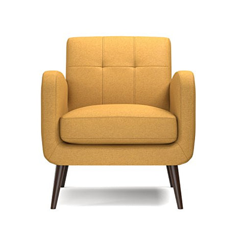 Modern Retro Yellow Linen Upholstery Tufted Back Accent Arm Chair with Dark Espresso Wood Legs