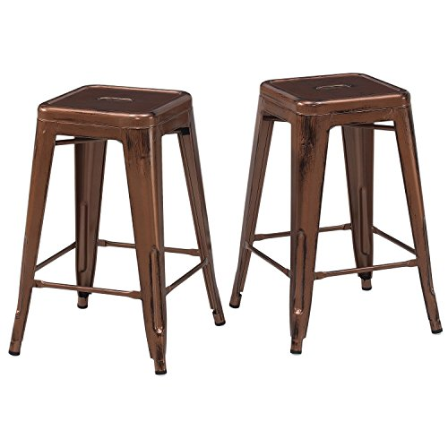Set of 2 French Bistro Antique Copper Tolix Style Metal Counter Stools in Glossy Powder Coated Finish