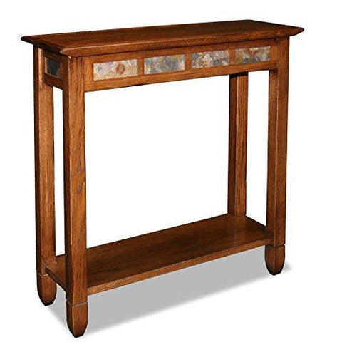 Modern Rustic Oak Narrow Sofa Table Console Hall Stand Rectangle Wooden Brown Finish with Slate Tiles