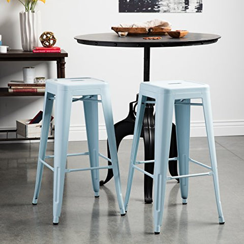 Set of 2 Light Blue Tolix Style Metal Bar Stools in Glossy Powder Coated Finish