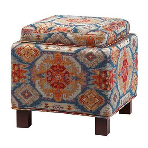 Modern Red Blue Ikat Print Square Upholstered Storage Ottoman with 2 Accent Pillows and Wood Legs in Espresso Finish