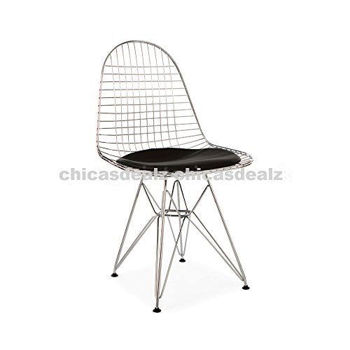 Mid Century Modern Eames Style DKR Chrome Wire Side Dining Chair with Black Seat Pad
