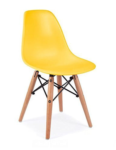 Mid Century Modern CHILDREN KIDS Yellow DSW Chair with Wood Dowel Base Inpired by Eames design - HIGH QUALITY Matte Finish